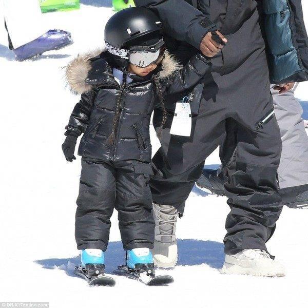 North West - Moncler Black Padded Snowsuit Vail Colorado April 2016