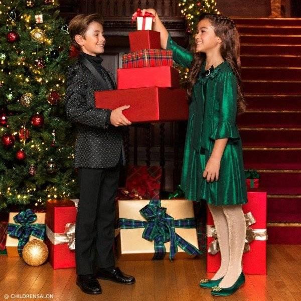 Romano Boys Black Satin Suit Loredana Le Bellissime Sparkly Green Chiffon Dress