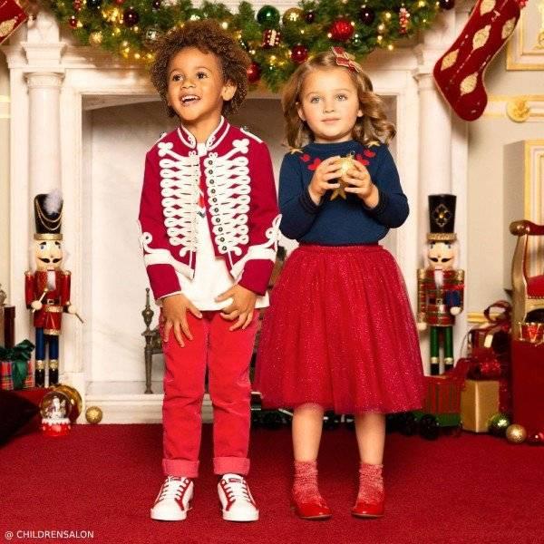 Stella McCartney Kids Boys Red Wool Military Jacket & Girls AGATHE Sweater