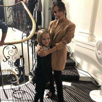 Victoria Harper Beckham Black Lace Collar Dress London Fashion Week