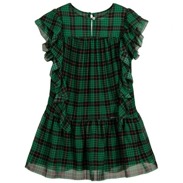 Burberry Girls Green LALLIE Silk Dress (1)