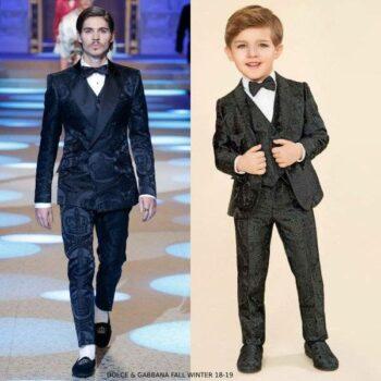 Dolce & Gabbana Boys Black Jacquard Suit