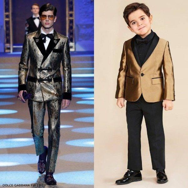Dolce & Gabbana Boys Mini Me Gold Tuxedo Jacket