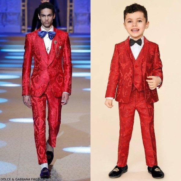 Dolce & Gabbana Boys Mini Me Red Jacquard Suit