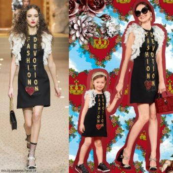 Dolce & Gabbana Girls Mommy Me Fashion Devotion Black Runway Dress