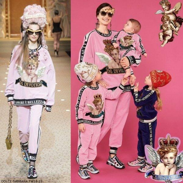 Dolce & Gabbana Girls Mommy Me Pink Velvet Angel Sweatsuit