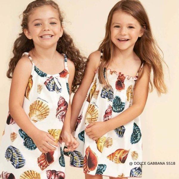Dolce Gabbana Kids Shell Print Dress