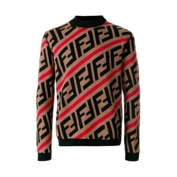 FENDI Brown Red FF logo diagonal-stripe sweater