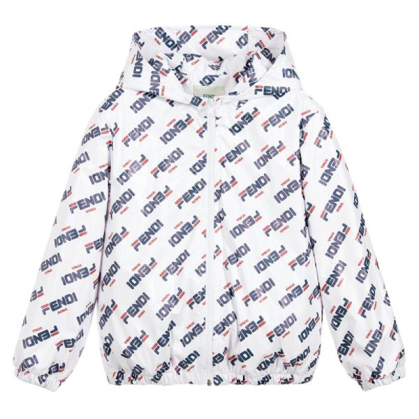 Fendi Mania Unisex White Logo Jacket