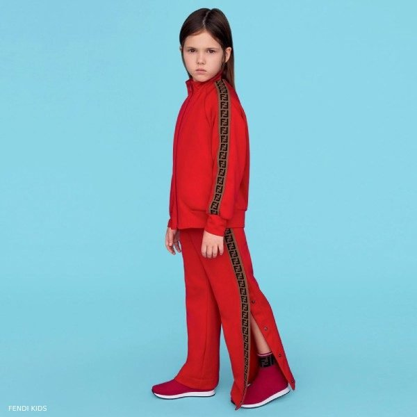Fendi Red 'FF' Logo Popper Trousers