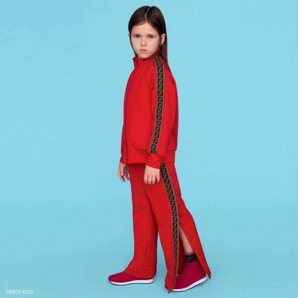 Fendi Kids Red FF Brown Logo Zip-Up Tracksuit