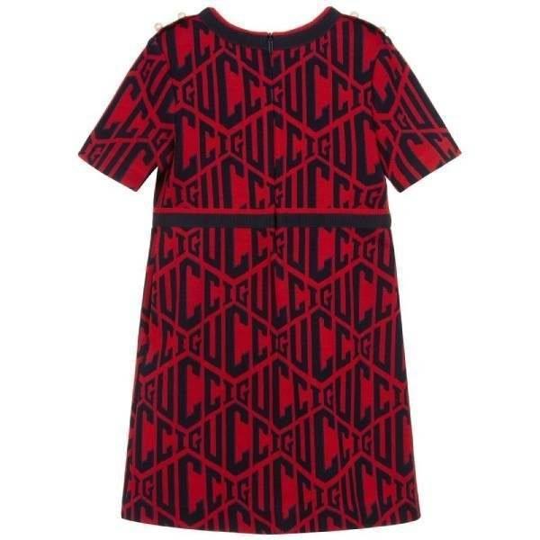 Gucci Girls Red & Blue Cotton Dress