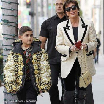 Mason Disick Kris Jenner Versace Boys Black Gold Baroque Print Puffer Jacket