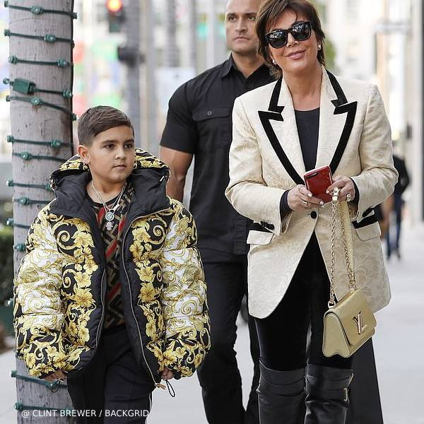 Mason Disick - Young Versace Boys Black Gold Baroque Print Puffer Jacket