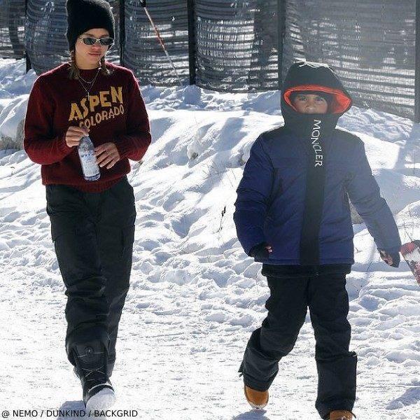 Mason Disick Moncler Blue Black Down Jacket Skiing Aspen 2019