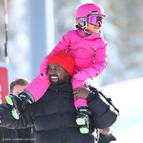 North West Kanye Aspen Skiing Pink Armani Girls Snowsuit