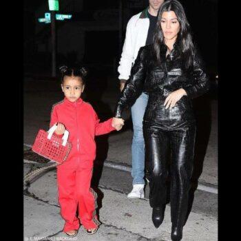 North West & Kourtney Kardashian - Fendi Girls Red FF Logo Zip-Up Jacket