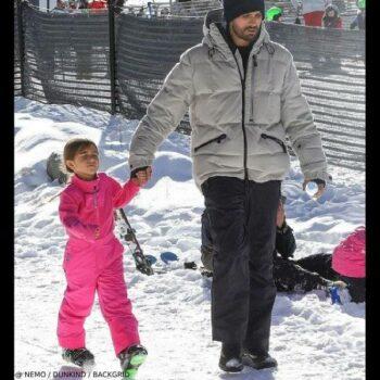Penelope Disick EA7 Emporio Armani Girls Pink Salopettes Ski Pants Aspen Colorado