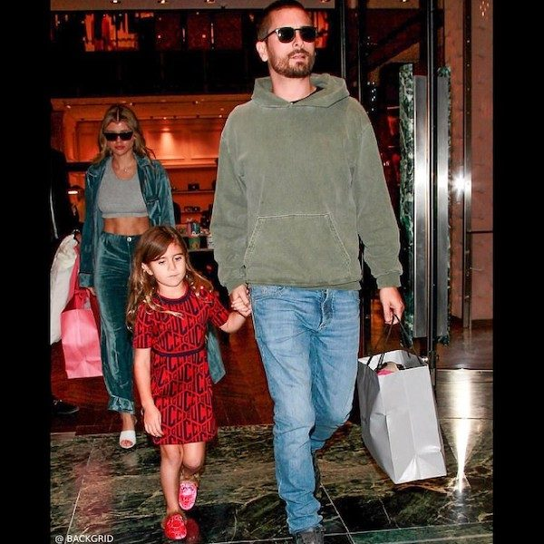 Penelope Disick GUCCI Red & Navy Logo Dress Christmas Shopping 2018 Beverly Hills