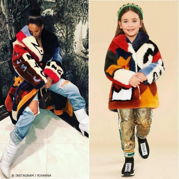 Rihanna Dolce & Gabbana Fall Winter 2018-19 Mini Me Faux Fur Colorful Queen Runway Jacket