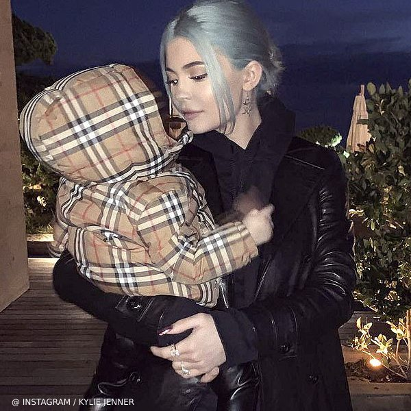 Stormi Webster Kylie Jenner Burberry Baby Beige Check Down Padded RIO Jacket