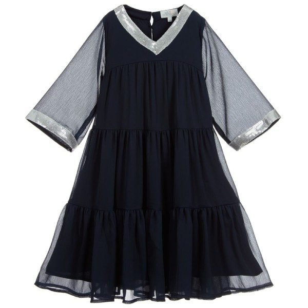 Wild & Gorgeous Girls Navy Blue Chiffon Dress (1)