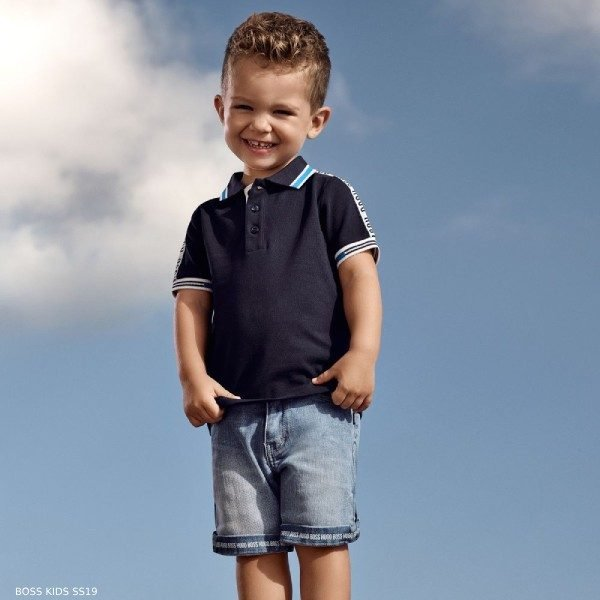 BOSS Baby Boys Blue Polo Shirt & Blue Denim Shorts