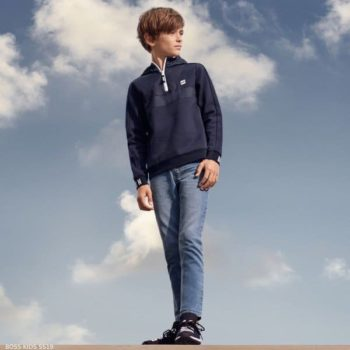 BOSS Boys Navy Blue Sweatshirt Denim Blue Jeans Black Logo Sneakers