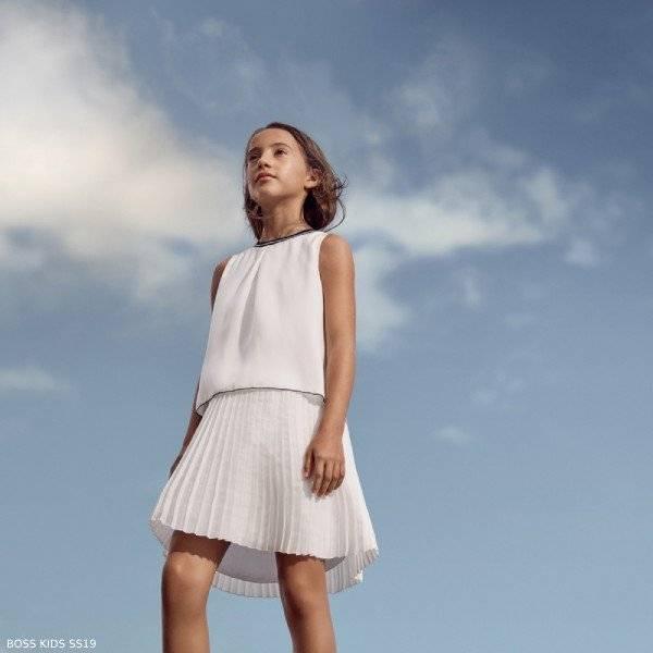 BOSS Girl White Sleeveless Dress with Pleated Skirt