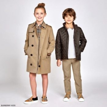 Burberry Kids Mayfair Beige Trench Coat Burberry Boys Green Quilted Jacket