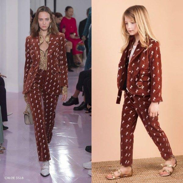 Chloe Girls Mini Me Brown Velvet Jacket Pants Runway Look