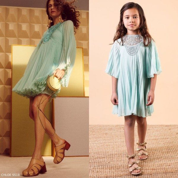 Chloe Girls Mini Me Green Crepe Chiffon Runway Dress
