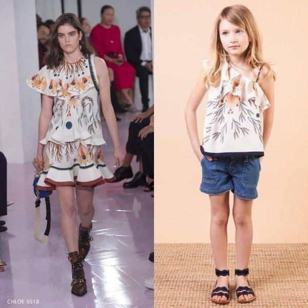 Chloe Girls Mini Me Ivory Silk Rithika Print Blouse & Blue Denim Shorts