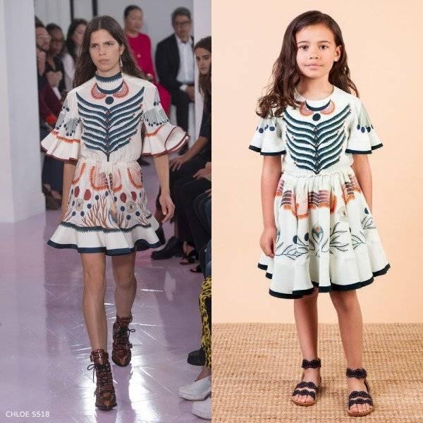 Chloe Girls Mini Me Ivory Silk Rithika Print Dress