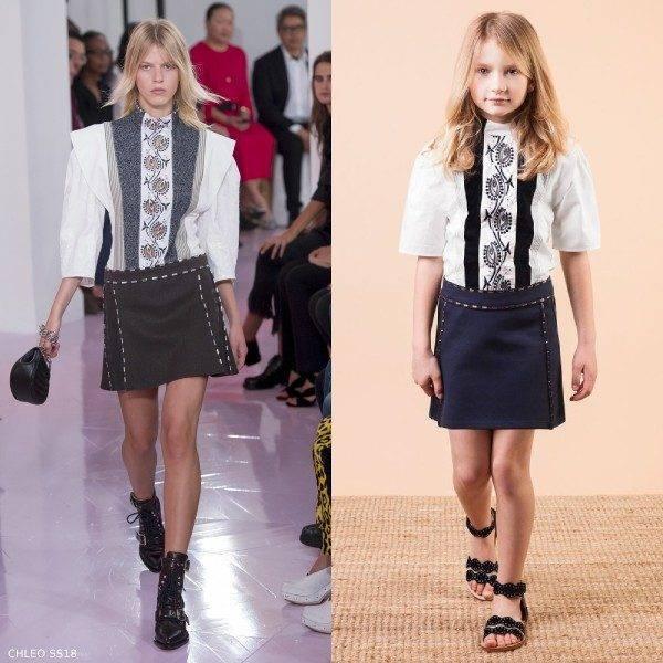 Chloe Girls Mini Me White Embroidered Cotton Blouse & Blue Skirt