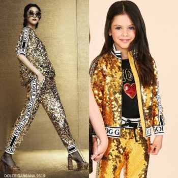 Dolce & Gabbana Girls Mini Me Gold Sequin Jacket Jogger Pants