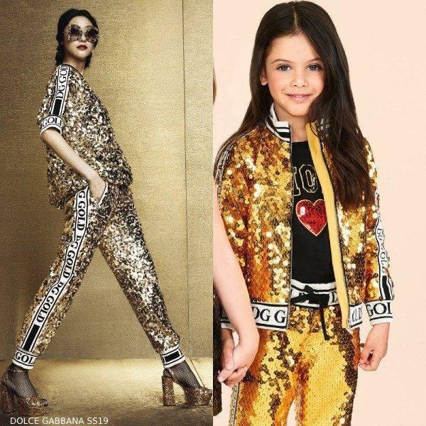 Dolce & Gabbana Girls Mini Me Gold Sequin Jacket Jogger Pants
