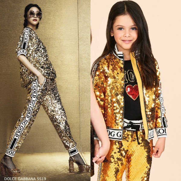 DOLCE & GABBANA GIRLS MINI ME GOLD SEQUIN JACKET & JOGGER PANTS