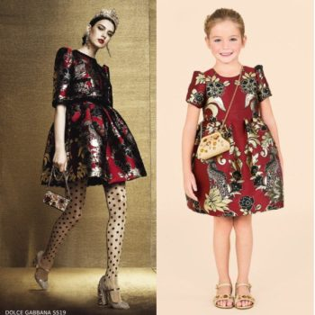 Dolce & Gabbana Girls Mini Me Red & Gold Jacquard Party Dress