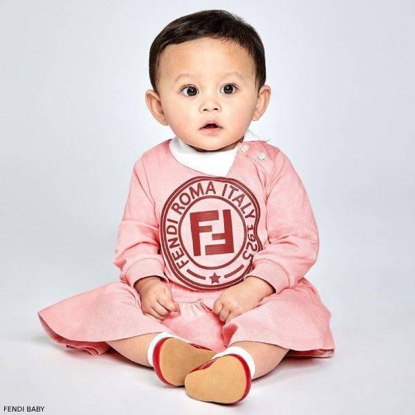 Fendi Baby Girls Pink FF Logo Cotton Dress