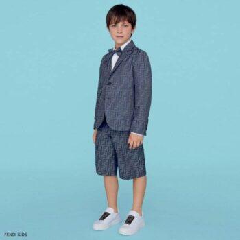 Fendi Boys Blue Chambray FF Logo Blazer Suit Shorts
