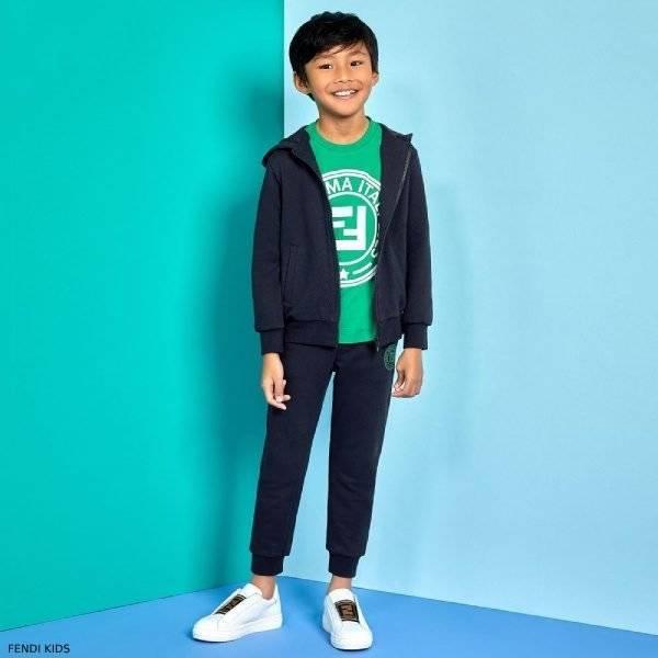 Fendi Boys Special Edition Blue Cotton FF Logo Zip-Up Sweatsuit