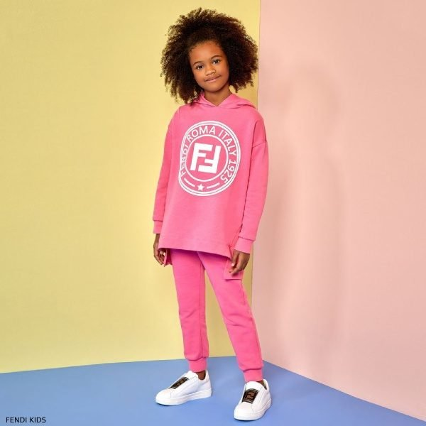 Fendi Girl Special Edition Pink Cotton FF Logo Sweatshirt