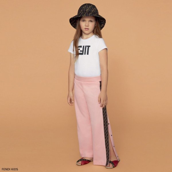 Fendi Girl White FFit Tshirt Fendi Pink 'FF' Logo Sweatpants