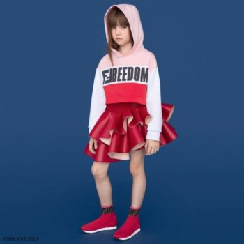 Fendi Girls Pink Freedom Sweatshirt Red Neoprene Skirt