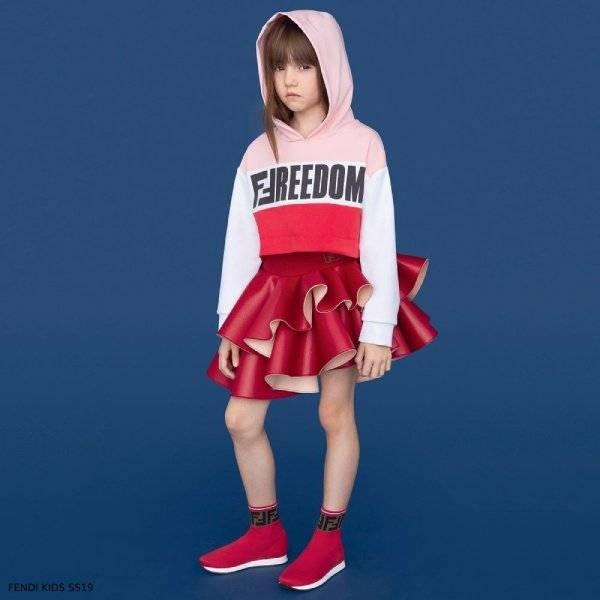 Fendi Girls Pink Freedom Sweatshirt Red Neoprene Skirt