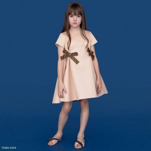 Fendi Girls Pink Neoprene Dress FF Logo Bows