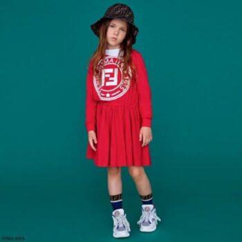 Fendi Girls Red Cotton Logo Dress