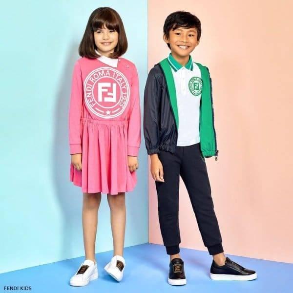 Fendi Girls Special Edition Pink Cotton FF Logo Dress Boys Blue Green FF Logo Jacket