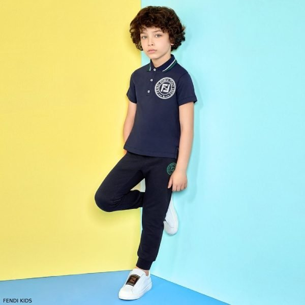 Fendi Special Edition Boys Navy Blue Cotton Polo Shirt Jogger Pants